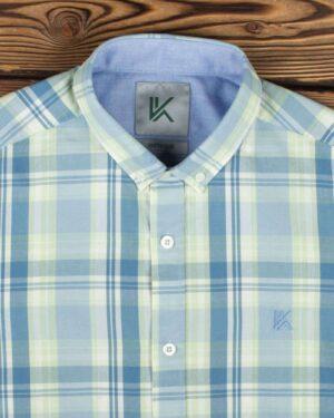 پیراهن مردانه آستین کوتاه چهارخانه - پسته ای - یقه مردانه