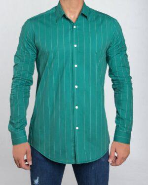 پیراهن مردانه راه راه اسپرت - خزه ای - رو به رو پیراهن