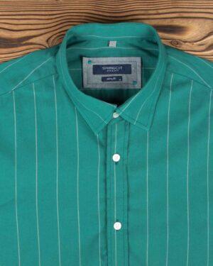 پیراهن مردانه راه راه اسپرت - خزه ای - یقه مردانه
