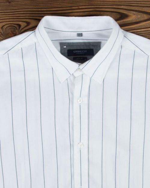 پیراهن مردانه راه راه اسپرت - سفید - یقه مردانه
