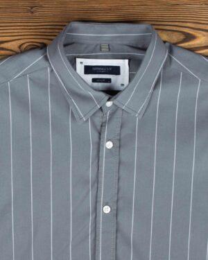 پیراهن مردانه راه راه اسپرت - طوسی - یقه مردانه