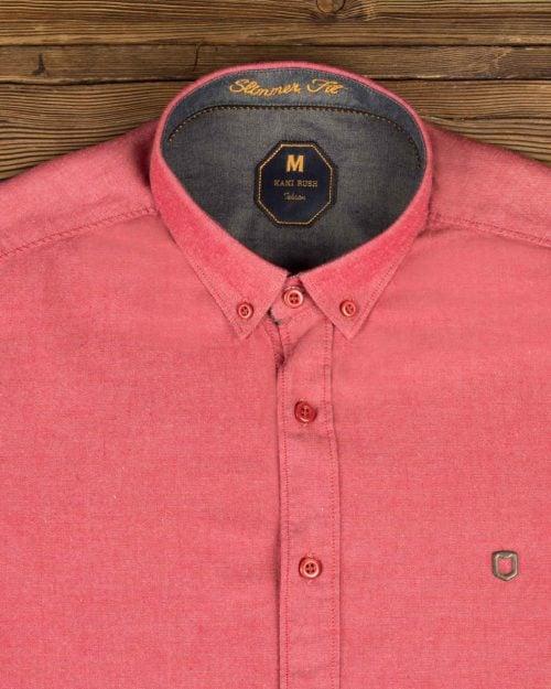 پیراهن مردانه ساده اسپرت - جگری - یقه مردانه