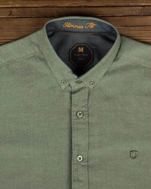 پیراهن مردانه ساده اسپرت - زیتونی - یقه مردانه