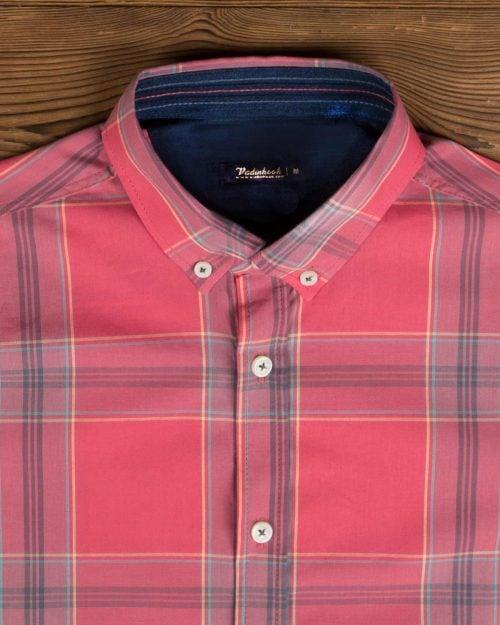 پیراهن مردانه چهارخانه درشت - صورتی - یقه مردانه پیراهن