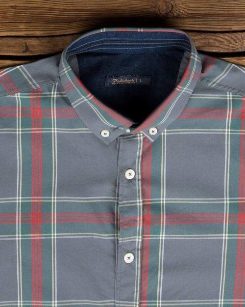 پیراهن مردانه چهارخانه درشت - طوسی - یقه مردانه پیراهن