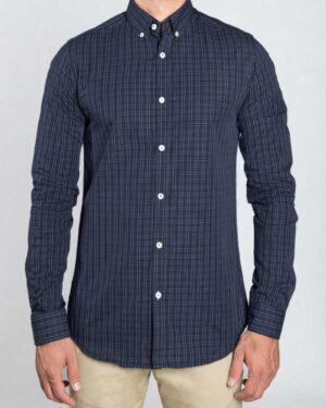 پیراهن مردانه چهارخانه ریز - آبی آسمانی - رو به رو