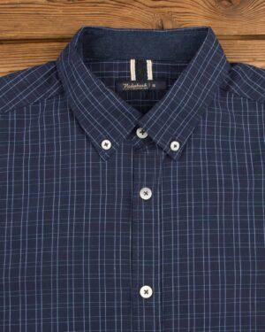 پیراهن مردانه چهارخانه ریز - آبی آسمانی - یقه مردانه