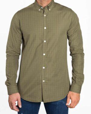 پیراهن مردانه چهارخانه ریز - زیتونی - رو به رو