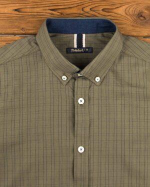 پیراهن مردانه چهارخانه ریز - زیتونی - یقه مردانه
