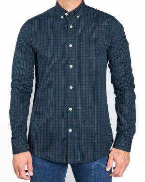 پیراهن مردانه چهارخانه ریز - سبز - رو به رو