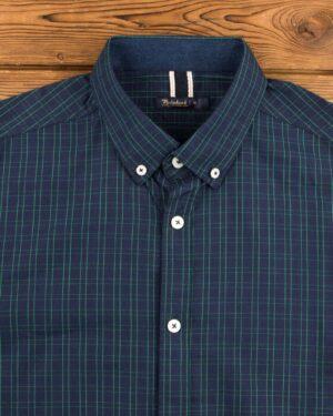 پیراهن مردانه چهارخانه ریز - سبز - یقه مردانه