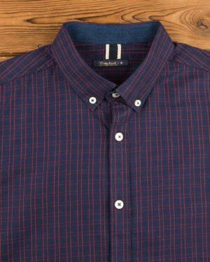 پیراهن مردانه چهارخانه ریز - قرمز - یقه مردانه