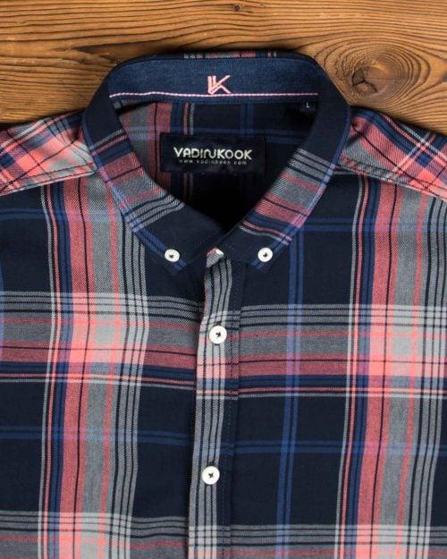پیراهن مردانه چهارخونه نخی - سرمه ای - یقه مردانه پیراهن