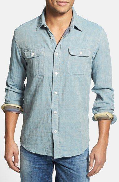 پیراهن مردانه کتانی آبی لباس تابستانی مردانه