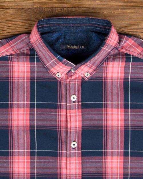 پیراهن نخی چهارخانه مردانه - صورتی - یقه مردانه پیراهن