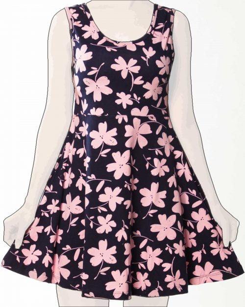 پیراهن نخی گلدار کوتاه زنانه -صوتی - روبه-رو