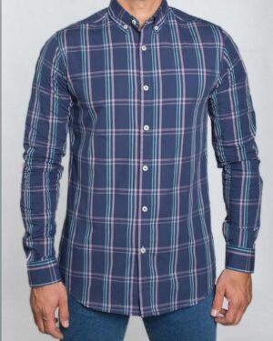 پیراهن چهارخانه آبی مردانه - آبی نفتی - رو به رو