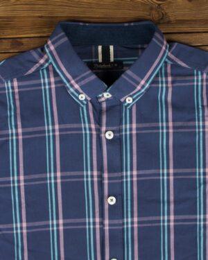 پیراهن چهارخانه آبی مردانه - آبی نفتی - یقه مردانه