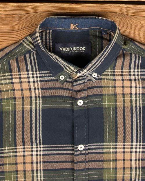 پیراهن چهارخانه آستین بلند مردانه - سرمه ای - یقه