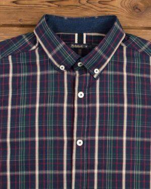 پیراهن چهارخانه اسپرت مردانه - سرمه ای - یقه مردانه