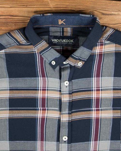 پیراهن چهارخانه مردانه اسپرت - سرمه ای - یقه