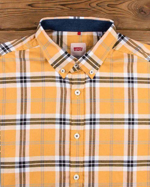 پیراهن چهارخانه نارنجی مردانه - نارنجی - یقه مردانه