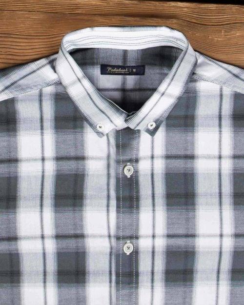 پیراهن چهارخونه اسپرت مردانه - دودی - یقه مردانه
