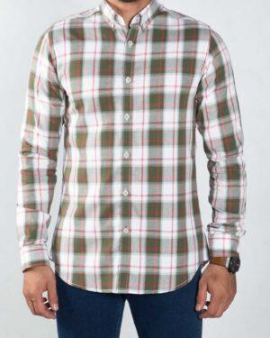 پیراهن چهارخونه اسپرت مردانه - زیتونی - رو به رو