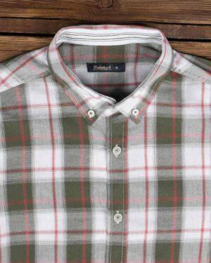 پیراهن چهارخونه اسپرت مردانه - زیتونی - یقه مردانه