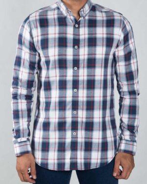 پیراهن چهارخونه اسپرت مردانه - سرمه ای - رو به رو