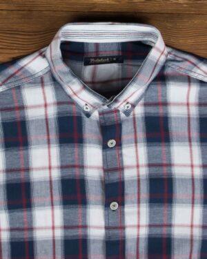 پیراهن چهارخونه اسپرت مردانه - سرمه ای - یقه مردانه