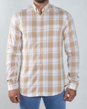 پیراهن چهارخونه اسپرت مردانه - کرمی - رو به رو پیراهن