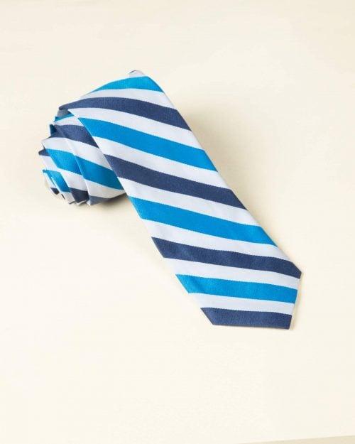 کراوات راه راه سفید آبی - سفید