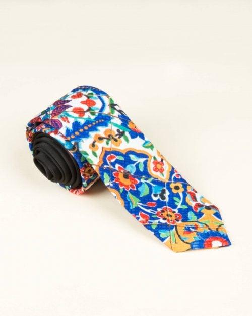 کراوات سنتی طرح کاشی - سفید