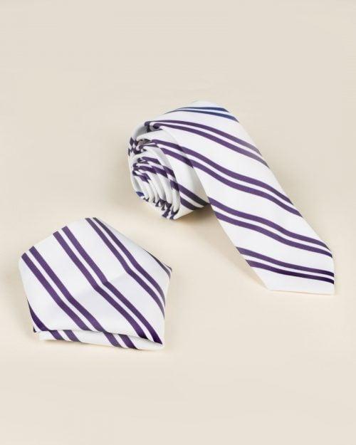 کراوات و دستمال جیب طرح راه راه - سفید