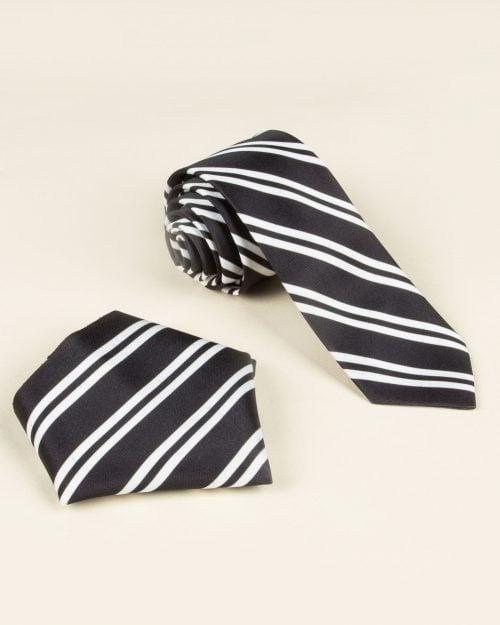 کراوات و دستمال جیب طرح راه راه - مشکی