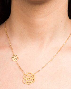 گردنبند زنانه طرح گل - طلایی - گردنبند دخترانه