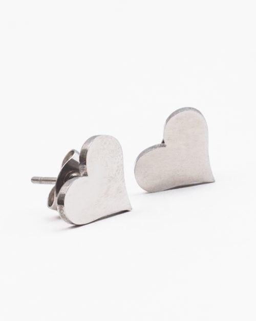 گوشواره استیل طرح قلب زنانه - نقره ای - گوشواره میخی