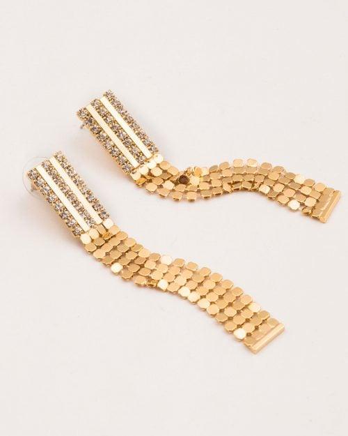 گوشواره زنانه طرح حصیر - طلایی - گوشواره زنانه