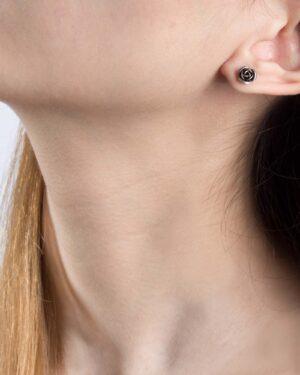 گوشواره میخی طرح گل رز - نقره ای - گوشواره دخترانه