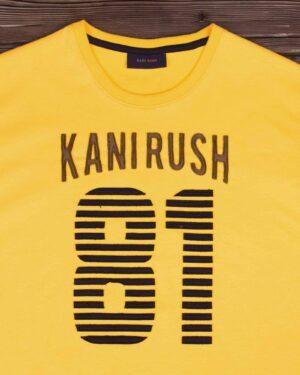 تیشرت آستین کوتاه طرح برجسته مردانه - زرد - یقه گرد