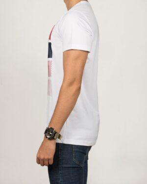 تیشرت اسپرت مردانه طرح برجسته - سفید - بغل