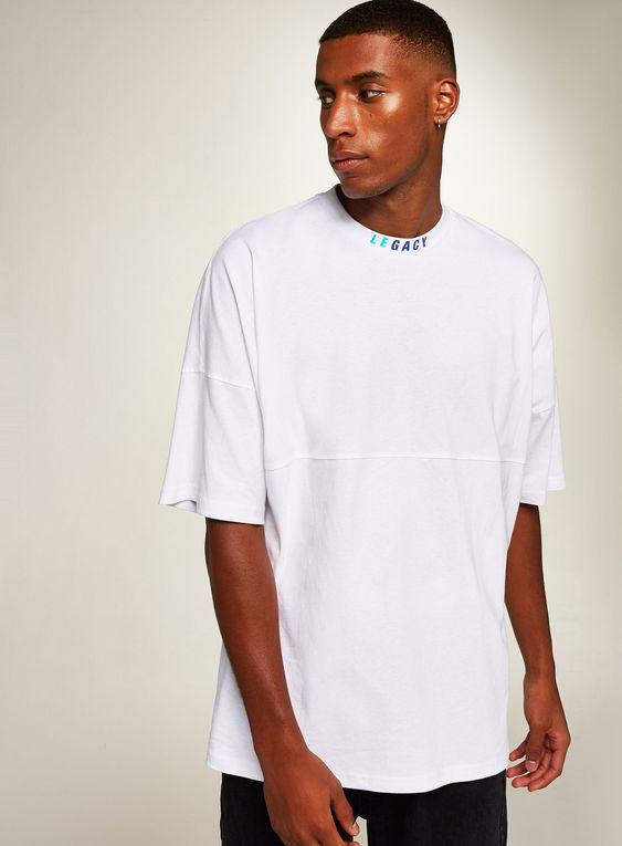 انواع تیشرت مردانه مدل اورسایز سفید رنگ
