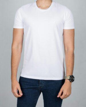 تیشرت ساده نخی یقه گرد مردانه - سفید - رو به رو