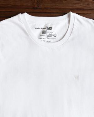 تیشرت ساده نخی یقه گرد مردانه - سفید - یقه گرد