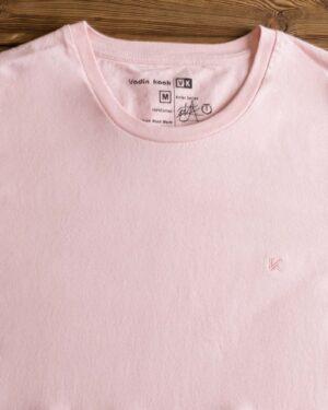 تیشرت ساده نخی یقه گرد مردانه - صورتی - یقه گرد