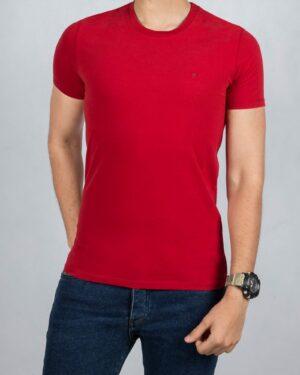 تیشرت ساده نخی یقه گرد مردانه - قرمز - رو به رو