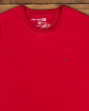 تیشرت ساده نخی یقه گرد مردانه - قرمز - یقه گرد