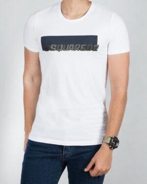 تیشرت مردانه آستین کوتاه نخی - سفید - رو به رو