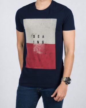 تیشرت مردانه اسپرت طرح چاپی - سرمه ای تیره - رو به رو تی شرت